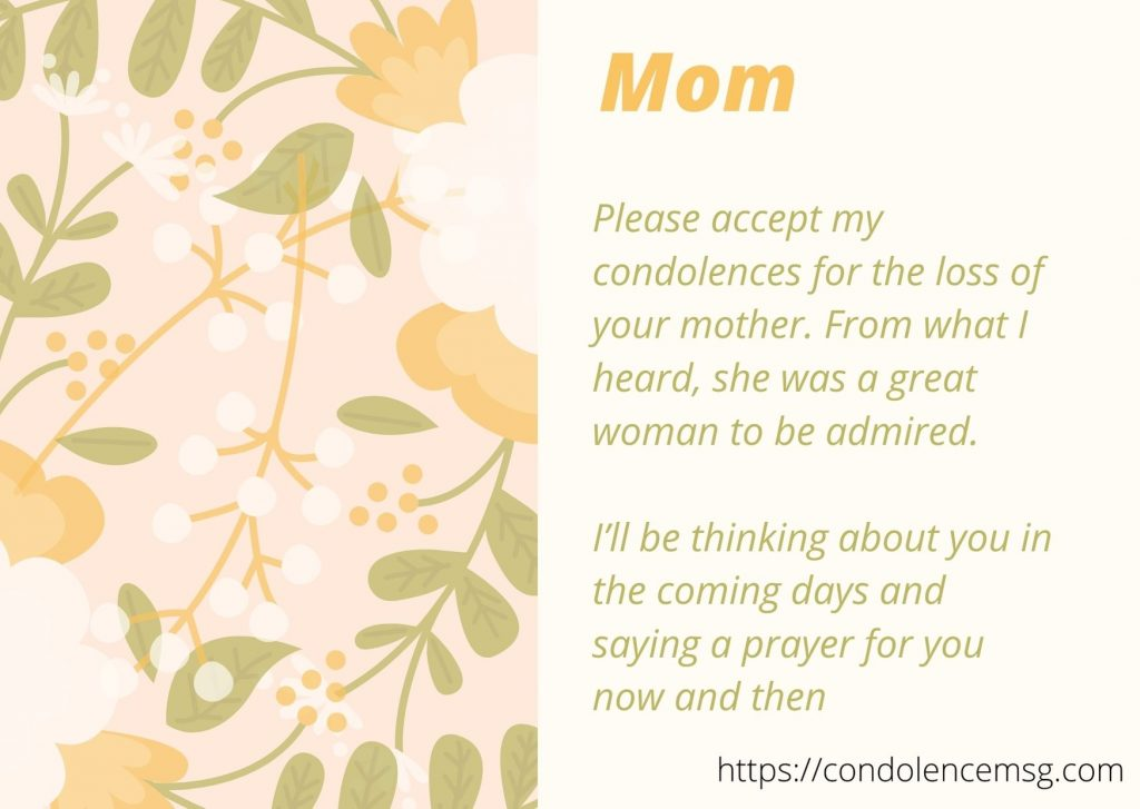 condolences for loss of mother