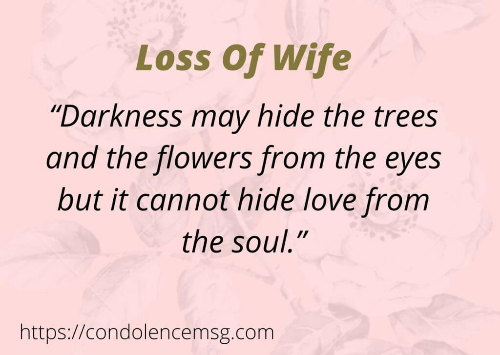 Condolence Messages for Wife Death