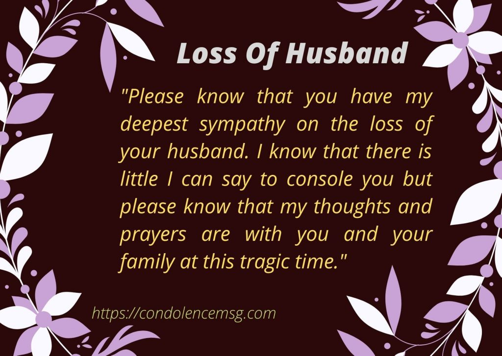Condolence Messages on Death of Husband