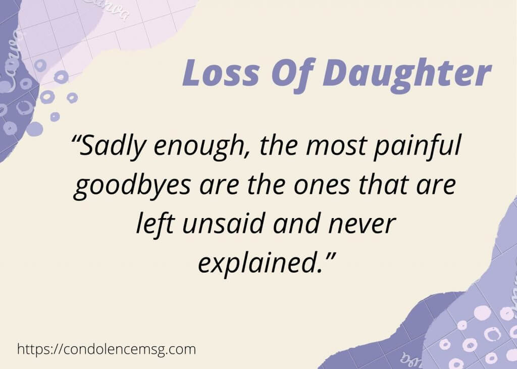 Condolence Messages for Loss of a Daughter