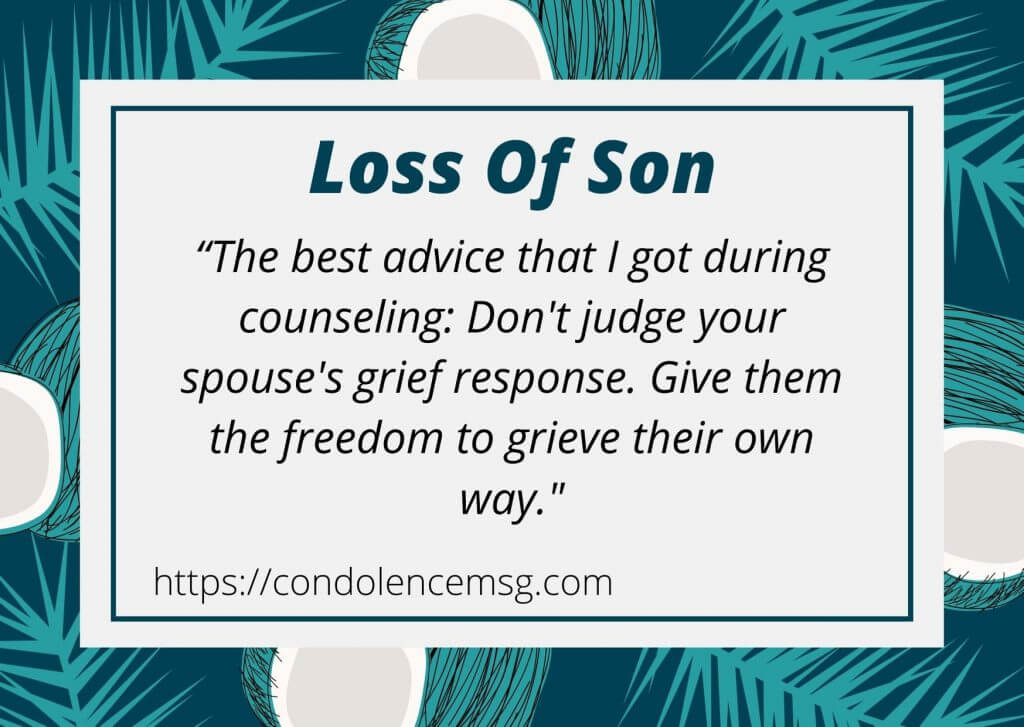 Condolence Messages on Death of Son
