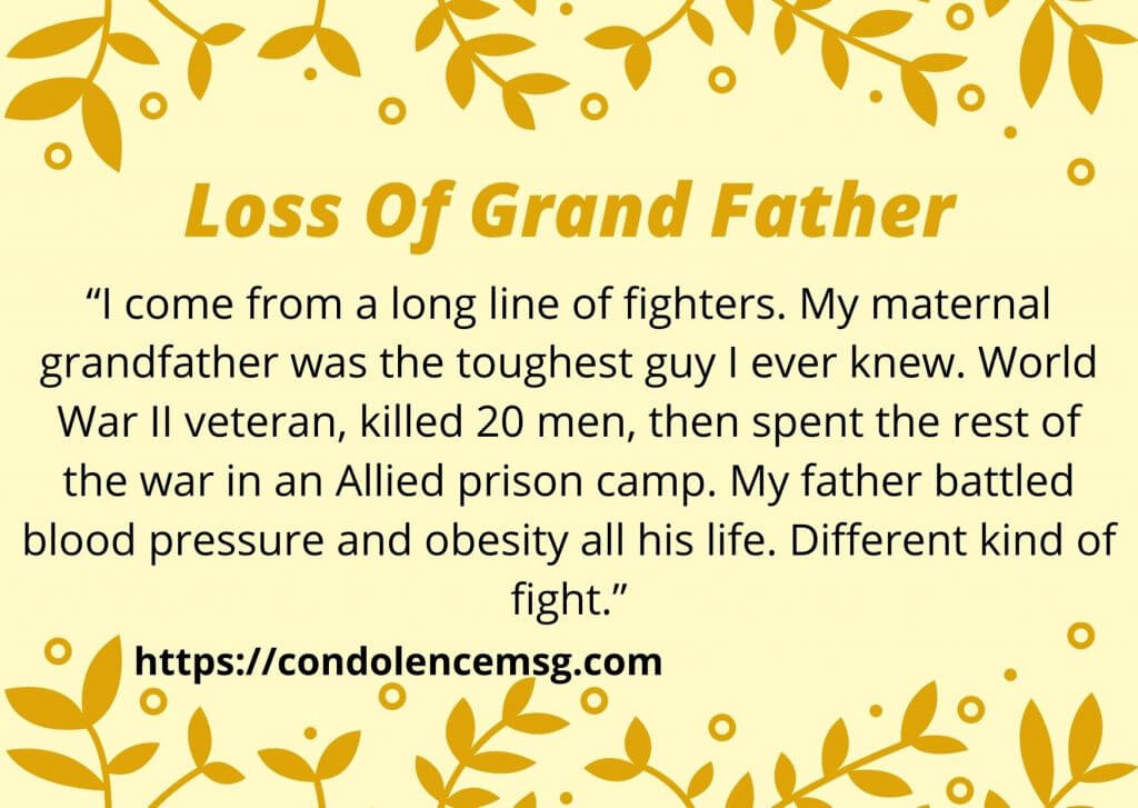 Condolence Messages on Death of Grandfather
