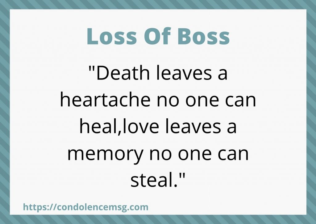 Condolence Messages on Death of Boss