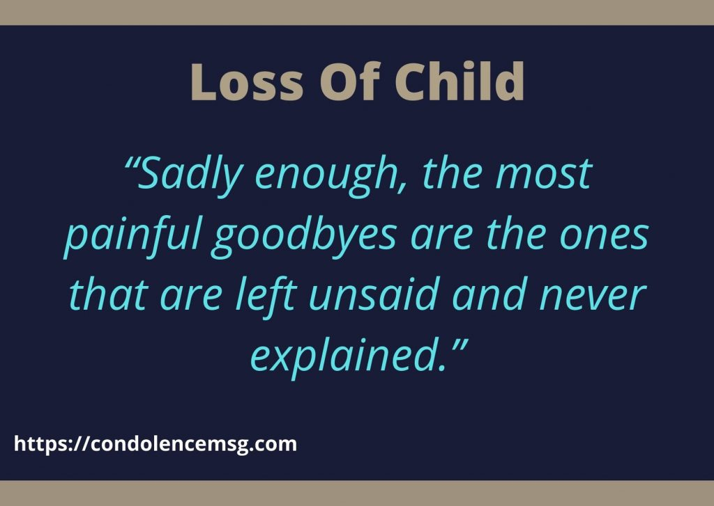 Condolence Messages on Death of Child