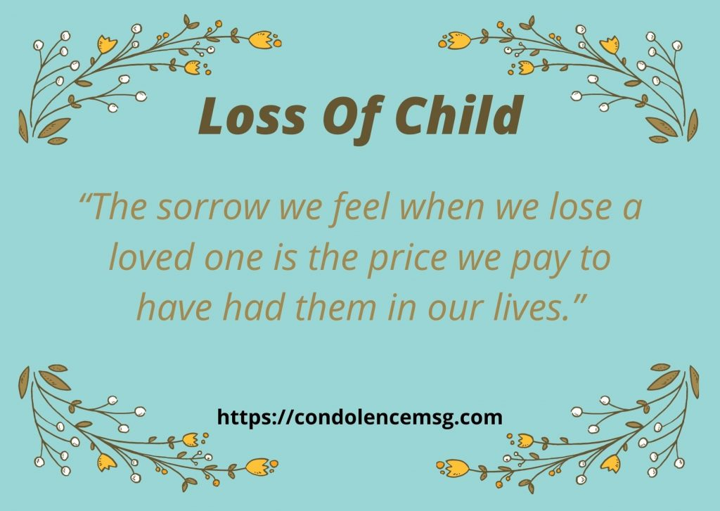 Messages of Condolences for Loss of Child