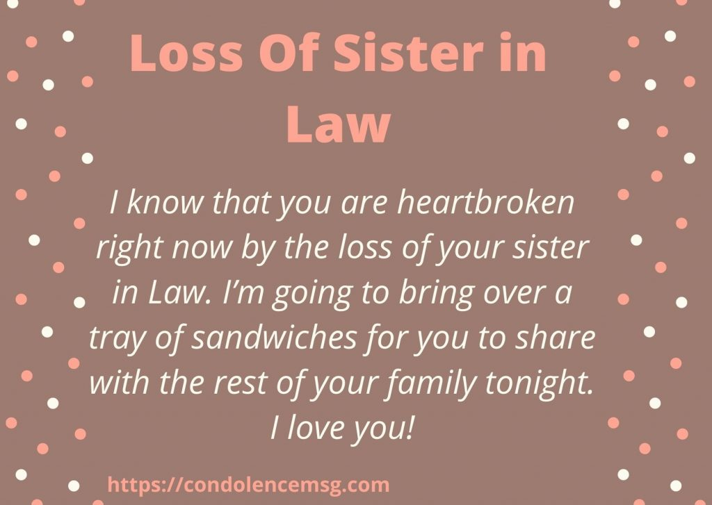 Messages of Condolences for Loss of Sister in Law