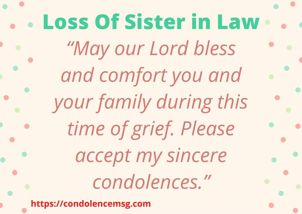 Condolence Messages for Sister in Law Death
