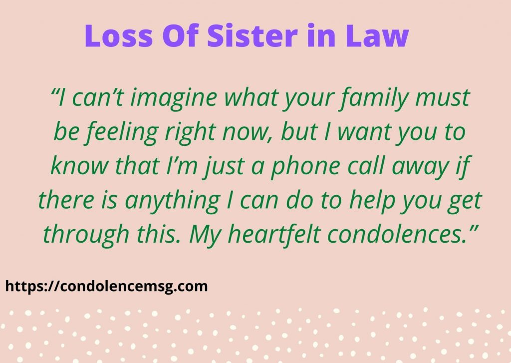 Condolence Messages on Death of Sister in Law