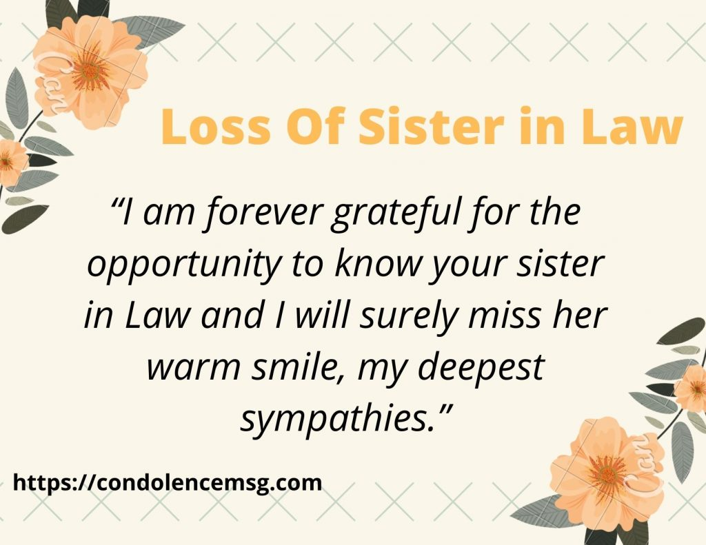 Messages of Condolences for Loss of A Sister in Law