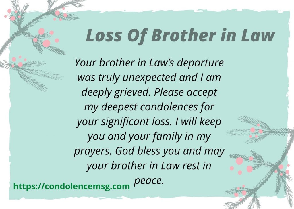 Condolence Messages on Death of Brother in Law