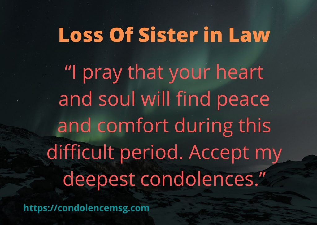 Condolence Messages for A Sister in Law Death