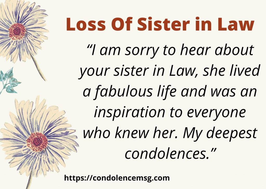 Condolence Messages on Death of A Sister in Law